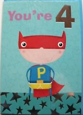 You're 4 Birthday card, suitable for male or female, super hero theme, brand new