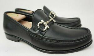 Salvatore Ferragamo Mason Bit Black Leather Men's Loafers Size 8.5 EE