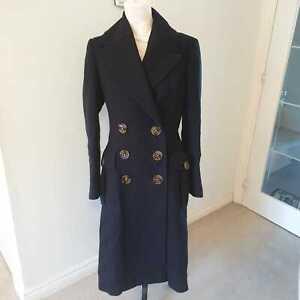 Burberry Prorsum Women's Woolen Navy Blue Military Style Coat IT 44 UK 12