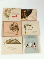 6 Vtg 20s 30s ART DECO Cards Christmas Mothers Day Fathers Day Birthday 1 Unused