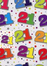 2 SHEETS HAPPY BIRTHDAY WRAPPING PAPER & MATCHING GIFT TAG -  AGE 21ST 21 UNISEX