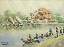 Dedy SURATIN (1900-1979) Aquarelle originale  Chine ,Indochine ou Indonésie ?