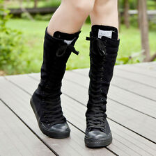Womens Cool Girls EMO Punk Boots Canvas Lace Up Zip Knee High Sneaker Shoes Sz 9