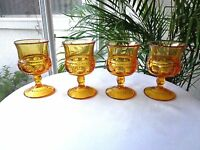 Set of 4 Indiana Glass King's Crown Amber Wine Glasses