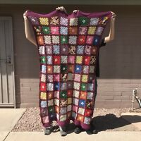 "Granny Square Afghan Crochet Throw Blanket Handmade 42"" x 75 Vintage Multi-Color"
