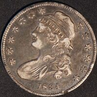 1834 CAPPED BUST HALF DOLLAR, SHARP, ORIGINAL SURFACES, TOUGH EARLY DATE!
