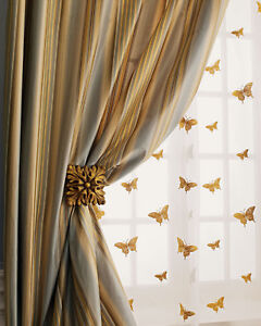 Gold Butterfly on sheer faux silk organza curtains (pair) unlined