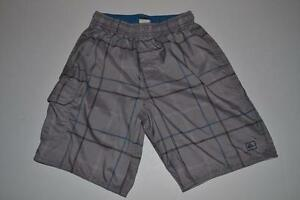 QUIKSILVER SURF GRAY PLAID SWIM SURFING TRUNKS SHORTS MENS SIZE SMALL S