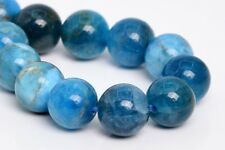 "7-8MM Genuine Natural Light Blue Apatite Beads Grade A Round Loose Beads 7.5"""