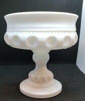 Milk Glass Kings Crown Indiana Thumbprint Compote Pedestal Dish  #533