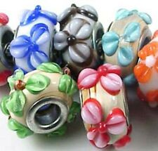 8 Lampwork Handmade Glass Fit Charm Bracelet Colorful Flower Beads