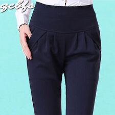 Women Harem Formal Pants High Waist Stretch Loose Work Black Trousers M-5XL New