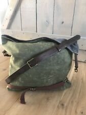 LAST CALL! Waxed Canvas Leather Trim Fold Over Messenger Crossbody Gray Green
