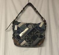 Coach Carly Indigo Blue Denim Patchwork Shoulder Bag 12215