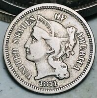1871 Three Cent Nickel Piece 3C High Grade Choice Good Date Early US Coin CC6446