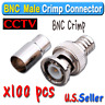 100pcs BNC Male Crimp Connector For Siamese RG 59 Cable Coax for CCTV Security