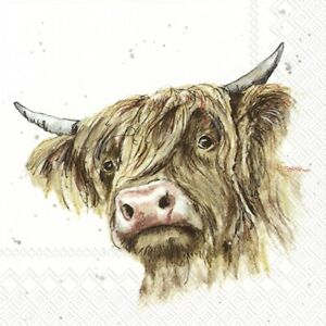 4 x Single Paper Napkins/3 Ply/Decoupage/Craft/Farmfriends/Galloway/Cattle/Cow