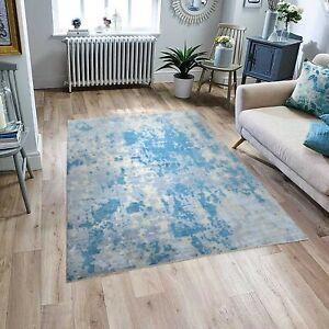 10x14 Handmade Abstract Rug Modern Blue Rug Wool & Silk Rug Free Shipping #8174