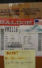 """New BALDOR VM3116 Electric Motor 1HP 208-230/460V 3 Phase 1/2"""" shaft"""