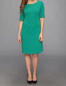 Anne Klein Dress Sz 2 Emerald Green Gold Zipper Stretch Career Cocktail Dress