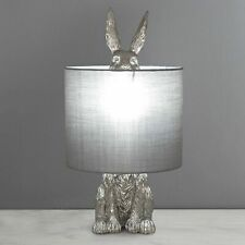 Hare Table Lamp Silver Resin Sculptured Grey Shade Heavy Quality