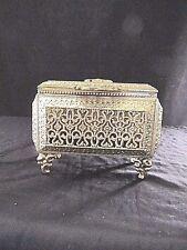 Vintage Gold Ormolu Brass Filigree Glass Trinket Jewelry Casket Box ORNATE