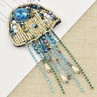 1pc Jellyfish Beaded Patches Sew on Applique Sequin Badge Clothing Sewing