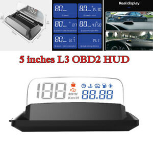 "5"" Universal Car Head Up Display HUD L3 OBD II OBD2 RPM Km/H Speeding Warning"