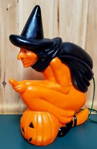 "VTG Blow Mold Witch Pumpkin on Broom Light 20"" Halloween Don Featherstone"