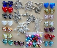Make 30 Lampwork Heart Angel Charms KIT-Beads Silver Wings Mix COLOURS MAY VARY