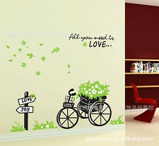 Wall Sticker Home Decor Mural Decals Bicycle tricycle Flower Removable