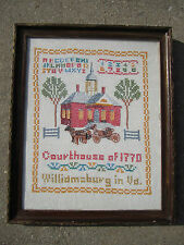 Vintage Cross Stitch Williamsburg Virginia Courthouse 1770 Sampler Alphabet etc.