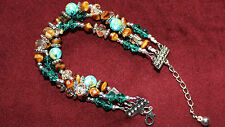 Multi 3 Strand Bead Bracelet turquoise, tigers eye, silver, crystal NEW handmade