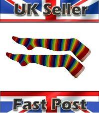 Women's Over the Knee Rainbow Multi Coloured Stripe Socks Thigh High Fancy Dress