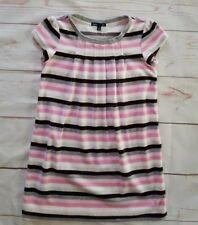 Gap Kids Girls Short Sleeve Dress Size Medium 8 Pink White Gray Black Stripes