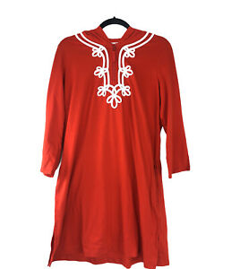 Lands End NEW Orange White Embellished Swim Cover Up SMALL Hooded Dress Vacation