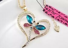 Betsey Johnson Necklace Pink Green Gold Dragonfly Crystals Heart Encased
