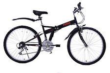"Ammaco Pakka 26"" Wheel Adults Folding Mountain Bike 18 Speed Black 15"" Frame"
