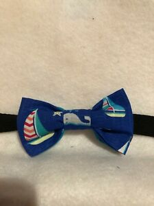 Toddler/boys Nautical sailboats & whales blue cotton bow tie-Handmade-pre-tied.