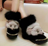 Womens Real Fox Fur Trim Mid-Calf Snow Boots Fur Lined Winter Warm Shoes Pull on
