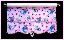 PRETTY PINK PETER RABBIT ROLLER BLIND / CURTAIN FOR DOLLS HOUSE - BY SYLVIA ROSE