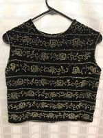 Vintage Cropped Wool Beaded Womens Top Size Small