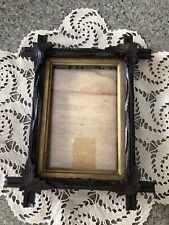 Vintage Arts Crafts Wood 4 Leaf Adirondack Picture Frame w/liner