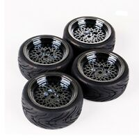 4PCS Rubber Tire &Wheel Rims 12mm Hex Set For HSP HPI 1/10 RC On Road Racing Car