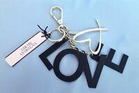 NWT VICTORIA'S SECRET BLACK LOVE HEART GOLD BAG/WALLET/KEY CHAIN