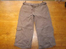 New Ex-BHS Ladies Mink 100% Cotton Crop Trousers Plus Fabric Belt Sz 12 (£18)
