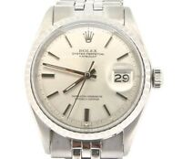 Rolex Datejust Mens Stainless Steel w/ Silver Dial & Oval Link Jubilee Band 1603