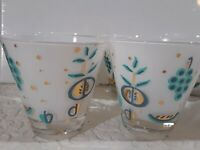Libbey Mid Century 50's Fruit Turquoise White Gold Frosted Bar Glasses Set of 10