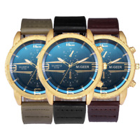 MIGEER High-End Men's Leather Strap Watch Analog Alloy Quartz Business Watch