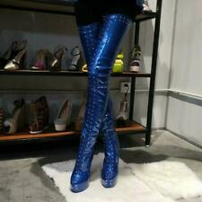Women Thigh-High Boots Studded High Heel Patent Leather Platform Club Sexy Shoes